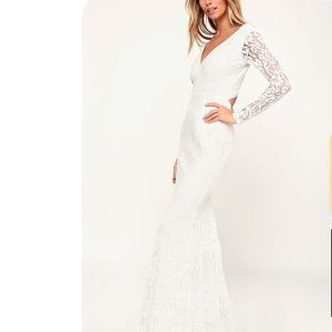 Lulus Natural Beauty White Lace Long Sleeve Dress